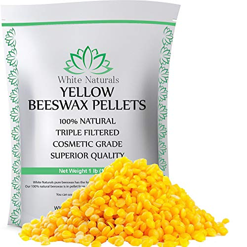 Beeswax Pellets 1 lb Yellow Pure Natural Cosmetic Grade Bees Wax Pastilles Triple Filtered Great For DIY Projects Lip Balms Lotions Candles By White Naturals