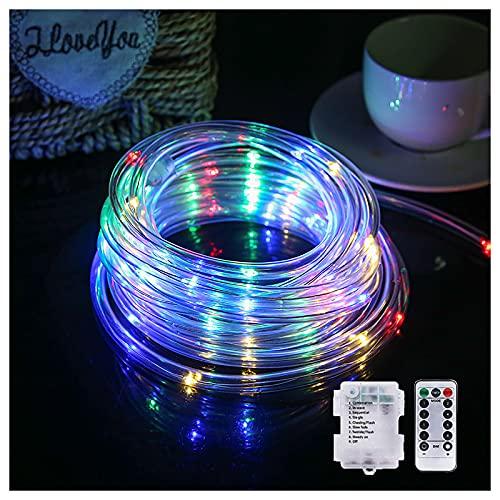 YTTde LED Rope Light 8 Farbwechsel-Streifenlicht Batteriebetriebene Hoop Lights Für Garten, Zaun, Hof, Party Blinngoball Game, Spike Game 16Ft (5M, 50 LED),49ft