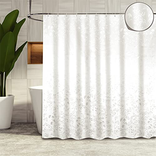 LYNXTEX Floral White Shower Curtain - Polyester Fabric Waterproof Cute Farmhouse Shower Curtain Set with 12 Hooks for Bathroom Decor – 72 X 72 Inch