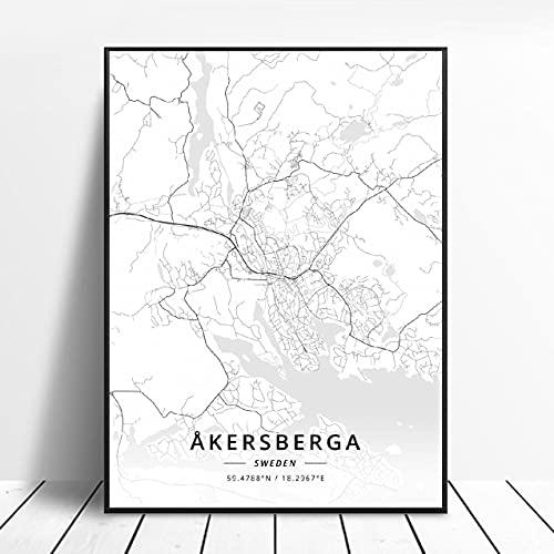 Akersberga Kasrlskrona Upplands Vasby Sklleftea Vaxjo Umea Canvas Art Map Poster ?ZQ-391? Ingen ram poster 40x50cm