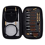 BOOSTEADY Gun Cleaning Kit .17 .22/.223/5.56MM .243 .280 .30 .357/9MM .40 .45 12GA Multi-Caliber Phosphor Bristle Bore Brushes with Flexible Threaded Bore Cleaning Coated Cables in Zippered Case