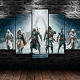 WHYQZ Impreso sobre Lienzo De 5 Piezas De Lienzo Assassin'S Creed Impreso Mural 5 Piezas Impresiones En Lienzo Decoración para El Arte De La Pared del Hogar Salón Oficina
