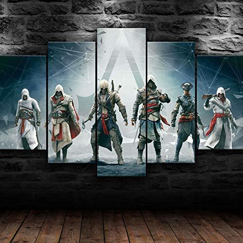 CHANGJIU-Cuadros Decoracion Dormitorios- Decoracion Habitacionr Pared- 5 Piezas- Póster De Assassin'S Creed Ezio Edward -Muchos Tamaños Y Varios Temas Gráficos-Marco