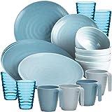 Melamin Geschirr Set 20 Teile Elegante Steingut Optik in blau mit Wasserglas Tassen - für 4 Personen - Essgeschirr Gläser Wasserglas Tumbler Whiskey - Campinggeschirr Picknick Camping modern Outdoor