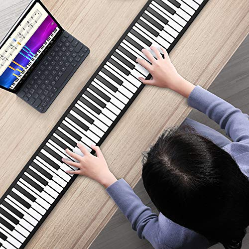 S SMAUTOP Roll Up Piano Keyboard, 88 Tasten E-Piano Keyboard Hand Roll Piano Musikinstrument 128 Töne und 14 Demonstrationslieder, für Anfänger oder Finger Power Übung