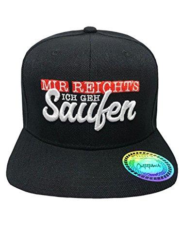 Outfitfabrik Snapback Cap Stickerei Mir reichts! Ich GEH Saufen! in schwarz mit 3D-Stick (Sprueche, Geschenk, Festival, Statement, Saufen fetzt), für Männer und Frauen, One Size, verstellbar