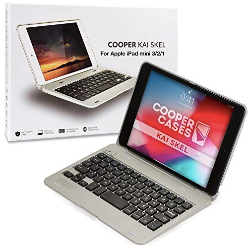 Cooper Kai SKEL P1 [Bluetooth Wireless Keyboard] Case for iPad Mini 1 2 3 | Portable Clamshell Laptop Case, 13 Shortcut Function Keys (Silver)