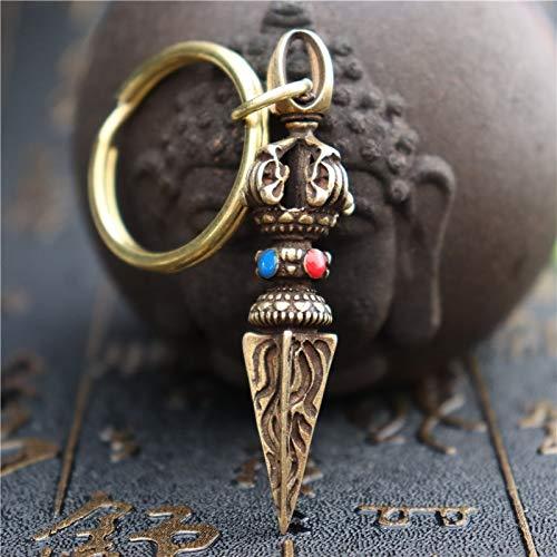 YGAKX Kupfer Vajry Stößel Perlen Schlüsselbund Anhänger Vintage Messing Buddha Schlüsselanhänger Lucky Glücksverheißende Retro Schlüsselringe Sammlung Vermeiden Sie das Böse