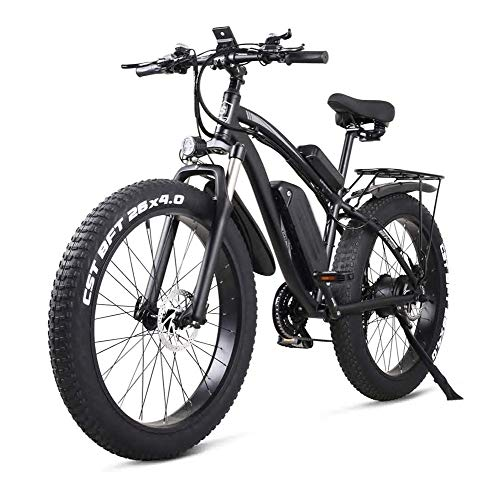 Smisoeq Electric mountain bike, three loop modes, full suspension fork, bike tire 26 * 4.0, 1000w 48V electric mountain bike with a rear seat (Color : Black)