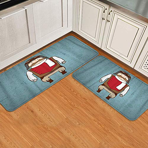 BCVHGD 2 STK. Küchenmatten-Set,Netter Sperma-Pilot mit Schnurrbart, Rutschfester Matten-Teppich für waschbare, haltbare Küchenfußmatten-Läuferteppiche