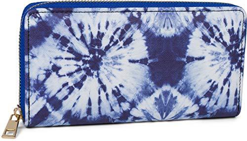 styleBREAKER Portafoglio donna con diversi motivi estivi, cerniera, portafoglio 02040143, colore:Batik - Blu e bianco