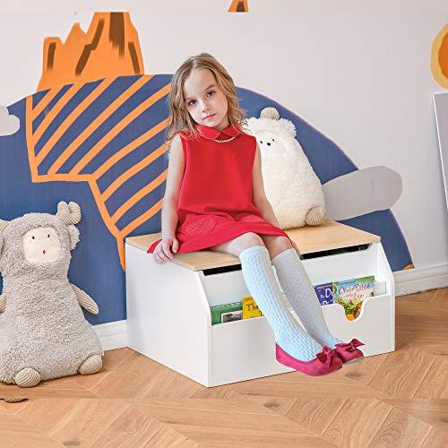 HOMCOM Kindersitzbank mit Stauraum 2-in-1 Truhenbank Spielzeugkiste Aufbewahrungstruhe 3-8 Jahre Kindermöbel Weiß 58 x 43 x 30 cm - 2