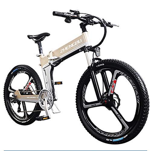 HSTD Bicicletta Elettrica - Mountain Bike Elettrica, Configura Smart Dashboard, Mountain Bike Pieghevole con Rimovibile 350W/48V/10.Ah Batteria Al Litio, Shimano Gear Shift 21/27 Velocità Metallic-Mec