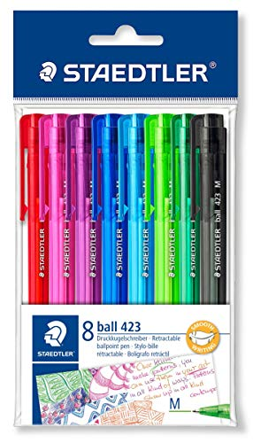 STAEDTLER 42335MPB8 Druckkugelschreiber Linienbreite M, 0.45 mm, Schaft in Schreibfarbe, 8 Stück im Polybeutel