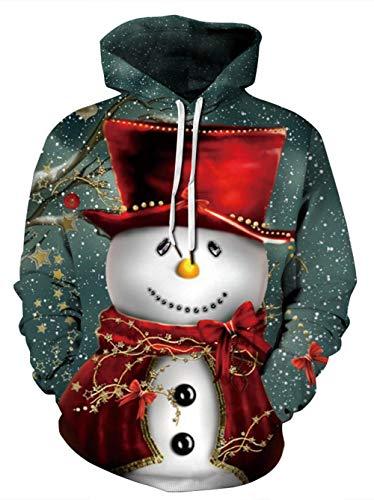 HUASON Hombre Mujer Sudaderas con Capucha Feliz Navidad Fiestas 3D Impresión Hoodie Sudadera Deportiva Casual de Manga Larga