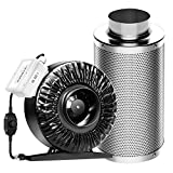 VIVOSUN 4 Inch 203 CFM Inline Duct Fan with 4'x 14' Carbon Filter Odor Control with Australia Virgin Charcoal