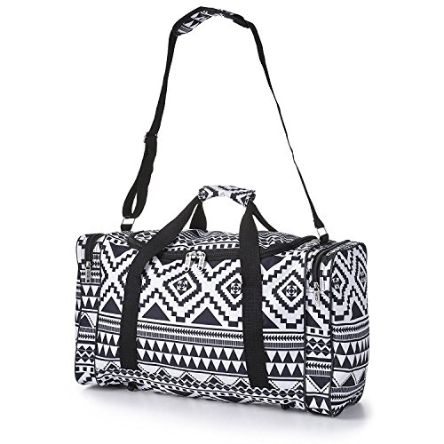 5 Cities Carry On Lightweight Small Hand Luggage Cabin on Flight & Holdalls (Aztec Black/White)