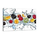 Cuadro sobre lienzo - Impresión de Imagen - Agua frutas alimentos frescos - 100x70cm - Imagen Impresión - Cuadros Decoracion - Impresión en lienzo - Cuadros Modernos - AA100x70-2675