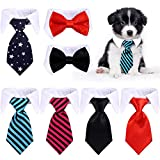 7 Pieces Adjustable Pets Bow Tie Stripes Red Black Pet Formal Tuxedo Costume Necktie Collar Puppy Grooming Ties for Small Dogs and Cats (S)