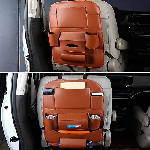 JJ. Sac de rangement universel en cuir synthétique pour siège arrière de voiture - Organiseur de voyage pour bouteilles, mouchoirs, jouets, parapluie, tablette