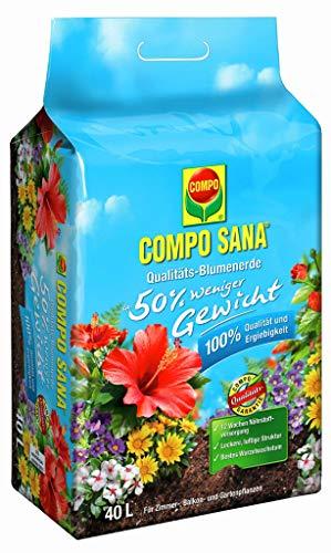 COMPO SANA Qualitäts-Blumenerde mit 12 Wochen Dünger für alle Zimmer-, Balkon- und Gartenpflanzen, 50{b44c23e39f211d3438fd780121d1c5a0f4857017a543baaae8f91e7c919dedf2} weniger Gewicht, Kultursubstrat, 40 Liter, Braun