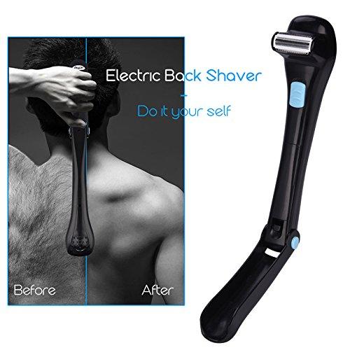 SanyaoDU Elektrische haarshaver voor mannen, 180 graden, opvouwbaar, werkt op batterijen, lange handgreep, ontharing voor alle lichaamsdelen