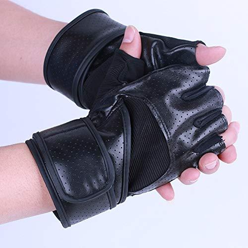 Houlian shop-handschoenen Handschoenen zwart en wit halve vinger handschoenen Zomer outdoor sport polsband non-slip mountainbike paardrijden fitness halve vinger handschoenen (zwart, wit) handschoenen-10.7