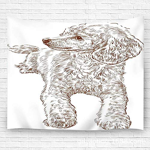 N\A Tapiz decoración tapices Manta de Pared Dibujo artístico artesanía de caniche Joven para Dormitorio Sala de Estar Dormitorio