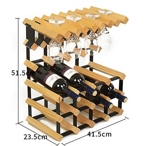 Botellero de Madera 12 Botellas DIY Encimera de Madera 8 Portavasos de Vino Cocina Comedor Gabinete de Vino (Color: Amarillo)