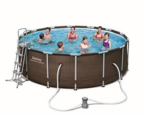 Bestway 56483 Piscina Power Steel Diseño Rattan, M