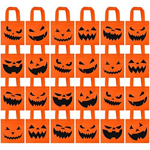 Elcoho 24 Packungen Halloween Vlies-Taschen Trick or Treat Tote Geschenktüten wiederverwendbare Süßigkeiten Goodie Taschen für Party Favors, 20,3 x 20,3 cm, 6 Stile