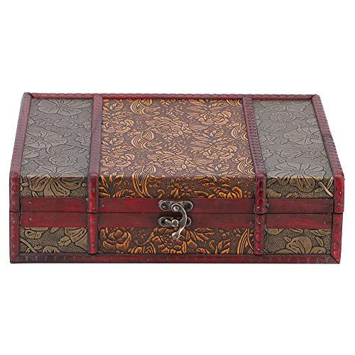 Joyero caja de almacenamiento de madera, caja de madera retro, organizador de libros de joyero grande, caja de regalo antigua para decoración del hogar y limpieza de escritorio