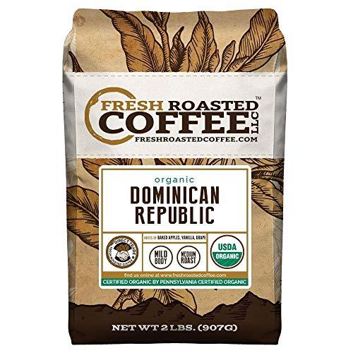 Fresh Roasted Coffee LLC, Organic Dominican Republic Coffee, Whole Bean, 2 Pound Bag