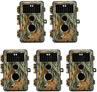 5-Pack Game & Trail Cameras 16MP 1080P Video Night Vision Time Lapse Wildlife Deer Hunting Cams No Glow Infrared Motion Activated IP66 Waterproof Protection Photo & Video Model