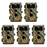5-Pack Game & Trail Cameras 20MP 1080P H.264 MP4 Video 70ft Night Vision Time Lapse Wildlife Deer Hunting Cams No Glow Infrared Motion Activated IP66 Waterproof Password Protection Photo & Video Model