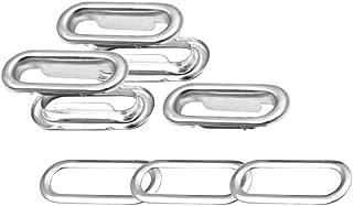 Trimming Shop Trimming Shop Satz mit 100 - Oval Ösen Tülle mit Unterlegscheiben für Stoff, Leder, Handtaschen, Schnallen, Banner Machen, Basteln - Silbern, 40mm