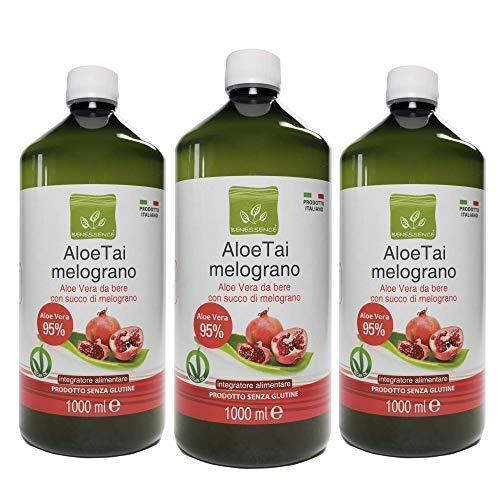 Benessence -Succo di Aloe Vera 95% con Melograno - Made in Italy (AloeTai Melograno, 1L x 3 Bottles)