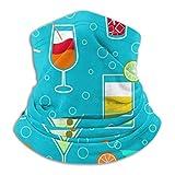 LREFON Azul Alcohol cóctel Bebidas patrón Cuello Polaina Bandana Calentador de Cuello pasamontañas para Hombres Mujeres Sol UV Viento protección contra el Polvo
