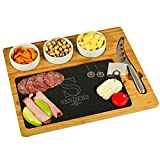 Custom Personalized Engraved Bamboo & Slate Cheese/Charcuterie Board - Includes 3 Ceramic Bowls & Cheese Knife- Patent Pending - by Picnic at Ascot USA