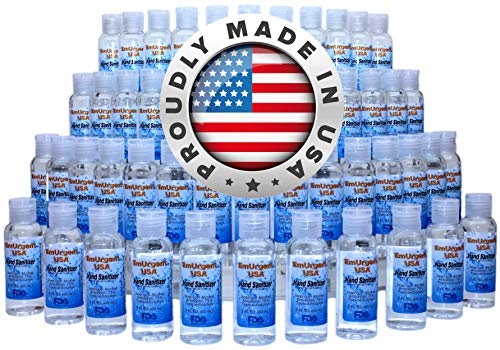 Hand Sanitizer 2 oz Travel Size (Case of 49) with Flip Top Cap by EmUrgent USA - FDA Registered - Proudly Made in USA - Small 2oz Individual Personal Pocket 2 Ounce Bottle Bulk