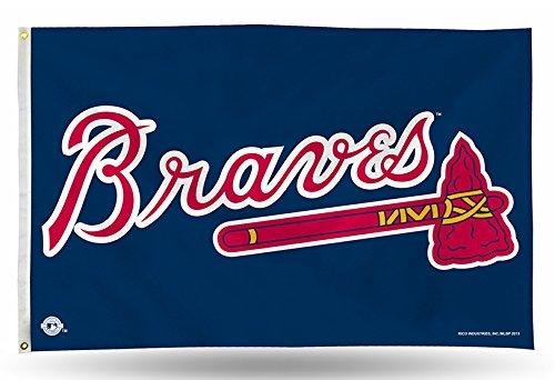 Rico Industries FGB5202 MLB Atlanta Braves 3-Foot by 5-Foot Banner Flag