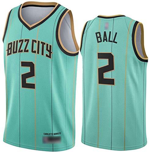 SHR-GCHAO Temporada De La NBA 2021 Charlotte Hornets # 2 Lamelo Ball/New Basketball Jersey # Camiseta con Chaleco De Moda para Hombres Top Deportivo, Secado Rápido, Ropa Deportiva,Verde,M(170~175cm)