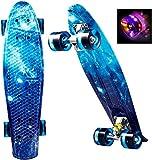 WeSkate Mini Cruiser Skateboard complet rétro 22' 55 cm Planche de Skate Vintage avec bord en plastique Cruiser Planche avec PU Roue Flash Roulement ABEC-7 pour Adultes Enfants Garçons