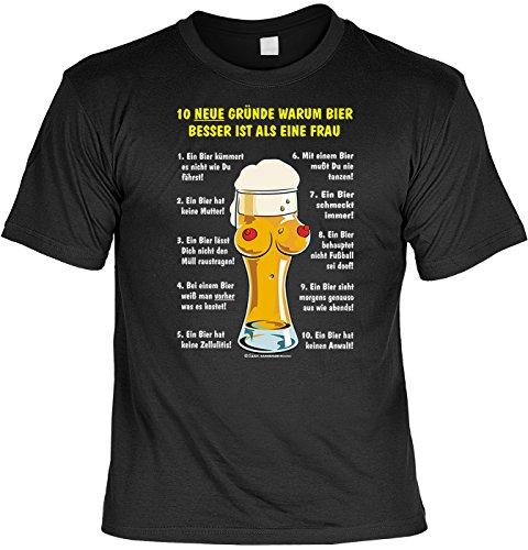 Trink-Spaß-Shirt/Fun-Shirt/Herren-Shirt Rubrik lustige Sprüche: 10 Gründe, Warum Bier Besser ist als eine Frau - geniales Geschenk