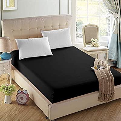 2-Pack Twin-XL Fitted Sheets,1800 Brushed Microfiber,Ultra Soft & Comfortable,Black