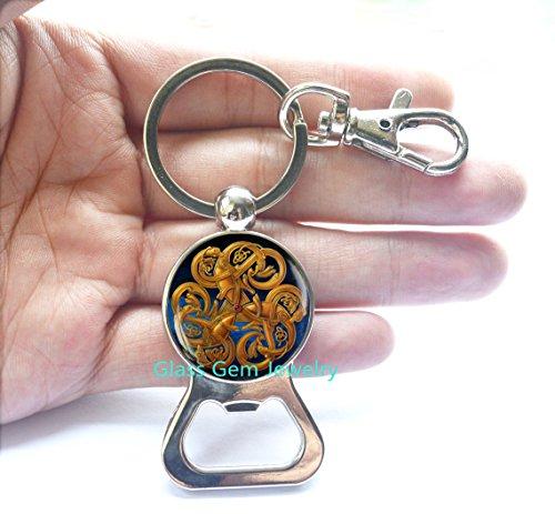 Irish Jewelry, Celtic Bottle Opener Keychain, Viking Rune Bottle Opener, Occult Jewelry, Scandinavian Bottle Opener, Pagan Symbol,Q0025