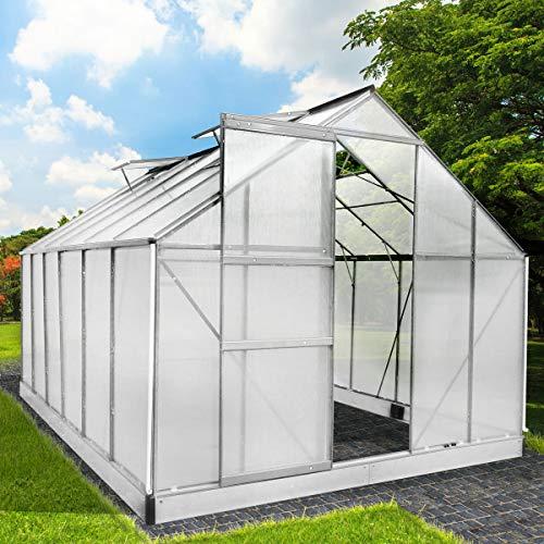 BRAST Gewächshaus Aluminium mit Stahlfundament 15,1 m³ Alu Gartenhaus Treibhaus 380x250x205cm 6mm Platten