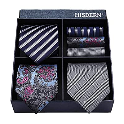 HISDERN Lot 3 PCS Classic Men's Tie Set Necktie & Pocket Square Elegant Neck Ties Collection,T3-07,One Size