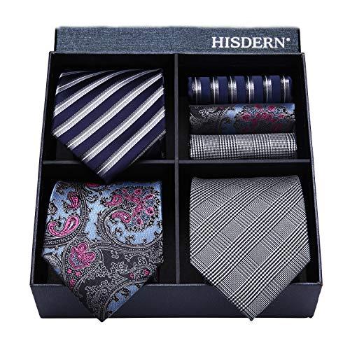 HISDERN Lot 3 PCS Classic Men's Tie Set Necktie & Pocket Square Elegant Neck Ties Collection,T3-07,One Size