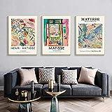 HNZKly Abstracto Paisaje Planta Flores Poster Henri Matisse Pintura Pared Arte Cuadro Matisse Retro De la Lona Arte Impresiones Salon Poster 50x70cmx3 / Sin Marco T62